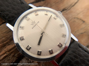 Marvin with a Perfect Original Striated Design Dial with Squared Markers and Hands, Manual, 35mm