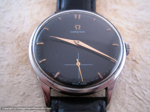 Classic Stainless Steel Black Dial Omega with Rose Gold Highlights, Manual, Large 35.5mm