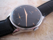 Load image into Gallery viewer, Classic Stainless Steel Black Dial Omega with Rose Gold Highlights, Manual, Large 35.5mm