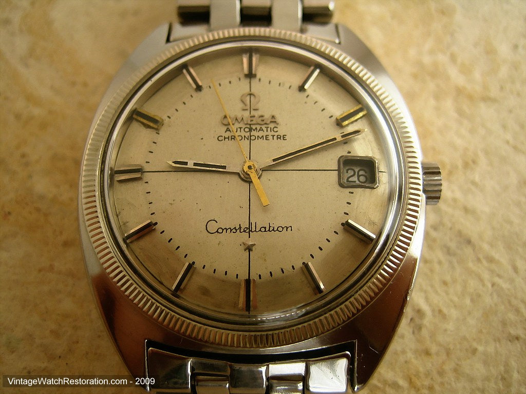 Omega Chronometer Constellation Pie Pan Dial with Stainless Bracelet, Automatic, Large 35mm