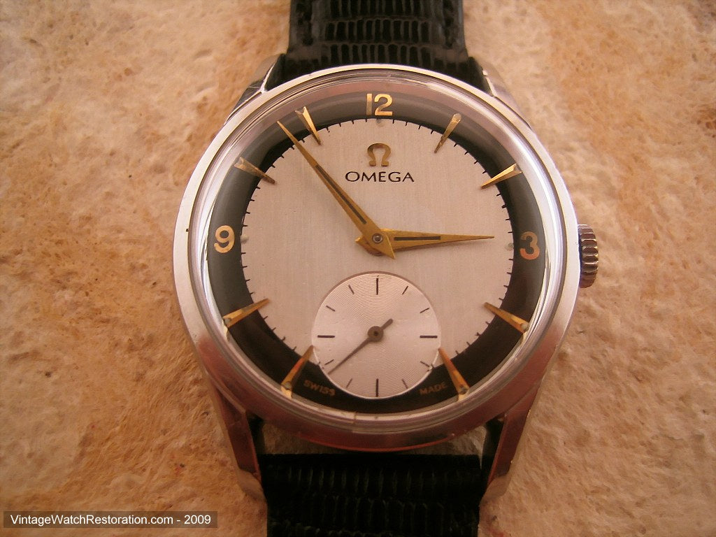 Spotless Omega Military with Black and White Dial, Manual, Very Large 36mm