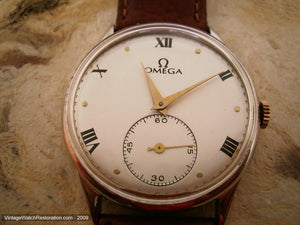 Omega 30T2PC Classic Pearl White Dial with Roman Numerals, Manual, Very Large 37mm