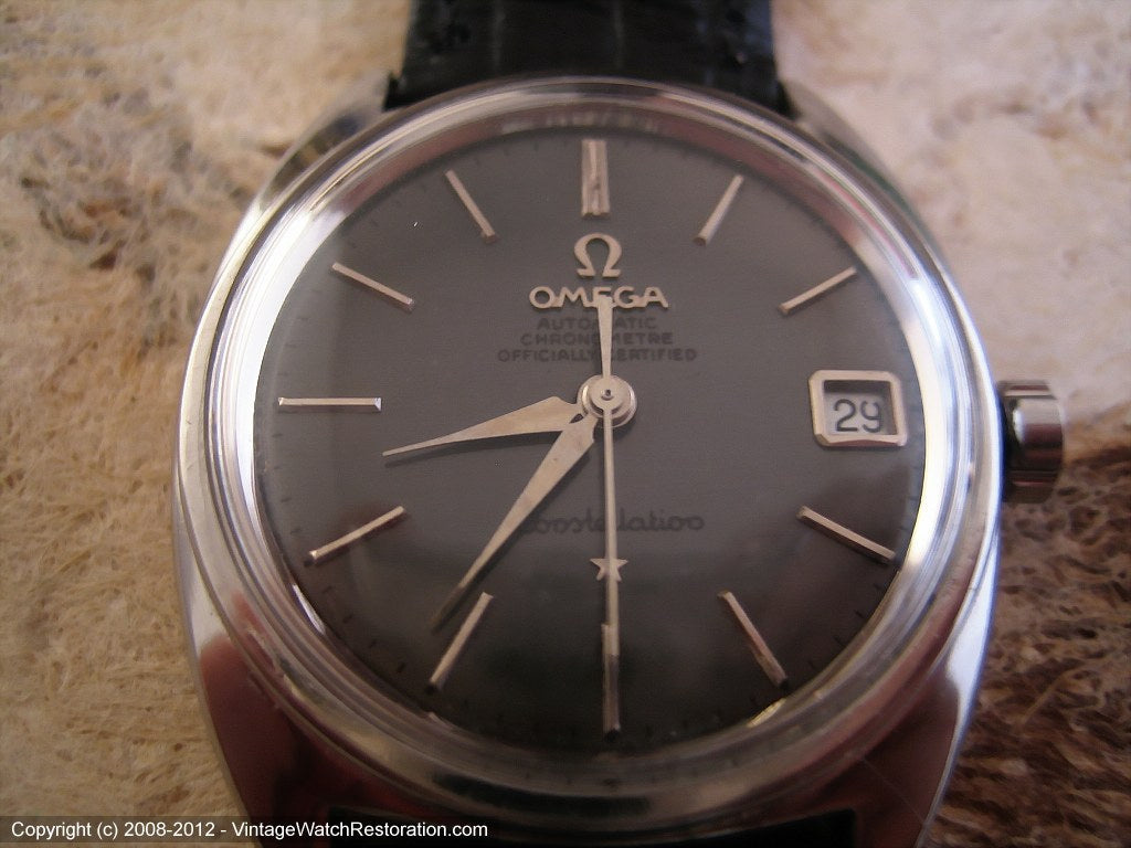 Stainless Omega Constellation Chronometer with Date, Automatic, Large 34mm
