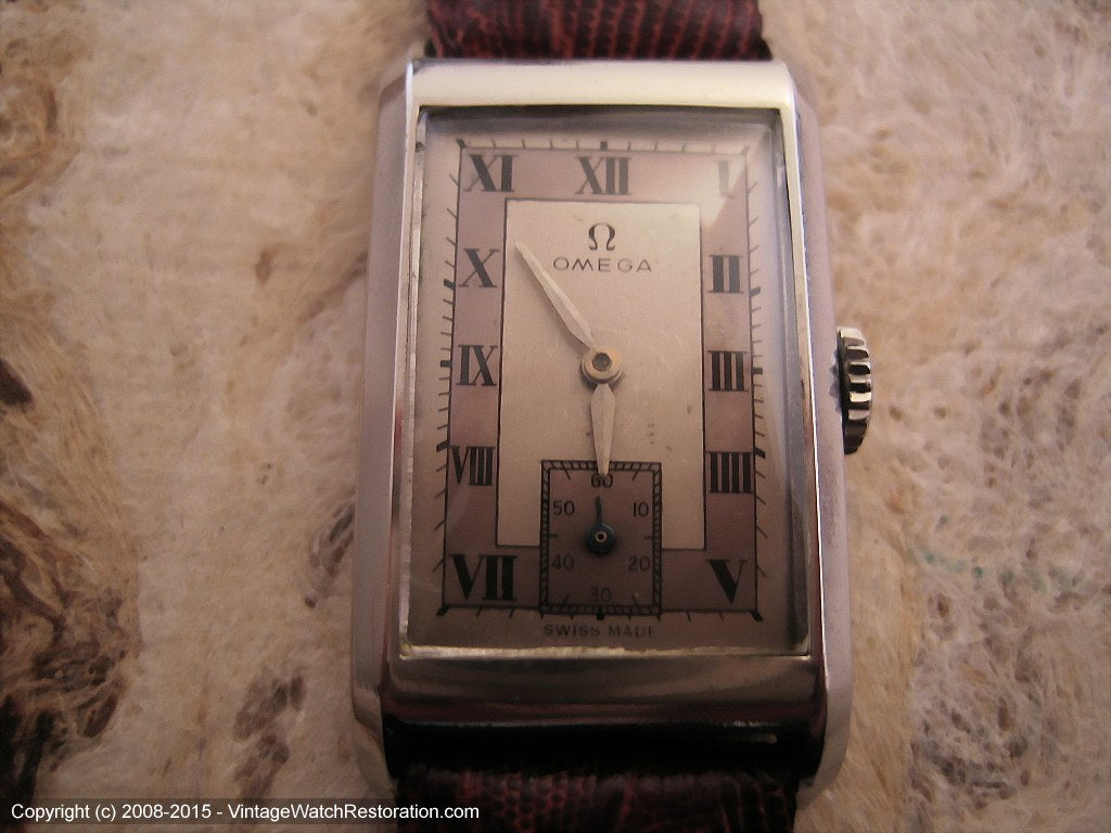 Omega Rare Rectangular Case Cal 17.8 with Two-Tone Roman Dial, Manual, 20x36mm