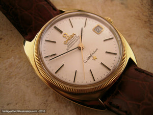 18K Gold Omega Constellation Chronometer Tonneau, Automatic, 35x40mm