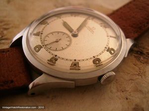Rare All Original First Automatic Omega Military Bumper with Pigskin Strap, Automatic, Large 35mm