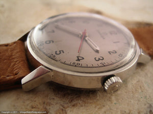 Early Omega Seamaster with Silver Dial and Pigskin Strap, Manual, 34mm