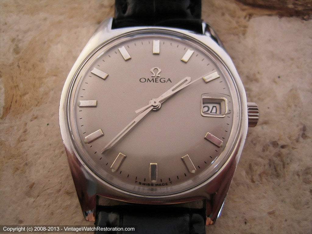 Dove Gray Dial Omega Stunner with Date, Automatic, Large 34.5mm