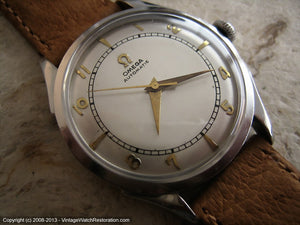 Attractive WWII Era Bumper Omega with Silver Dial , Automatic, 33mm