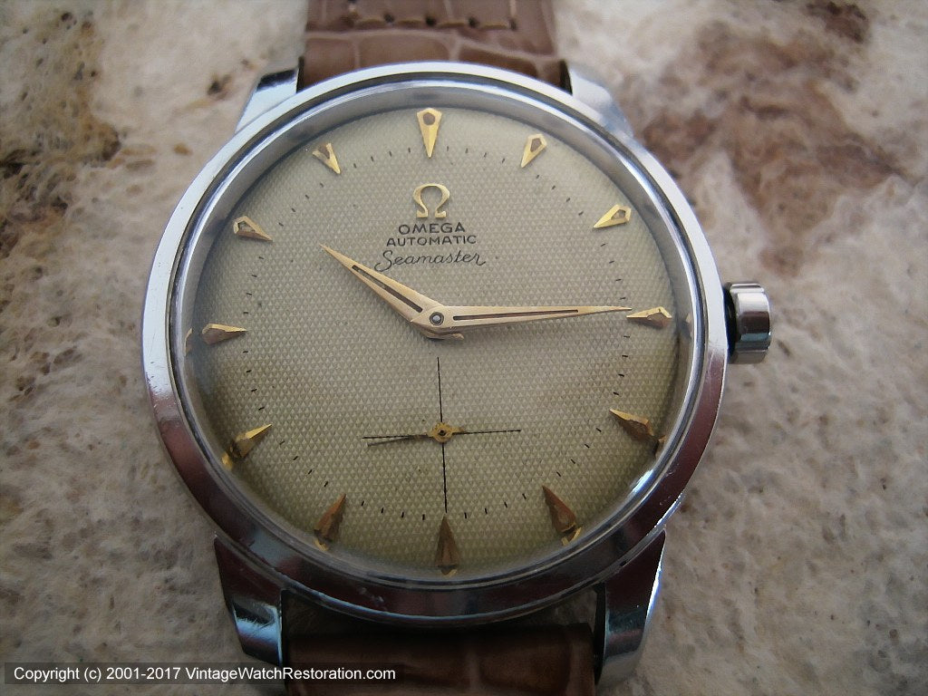 Early Omega Seamaster Bumper with Original Honeycomb Dial, Automatic, Very Large 36mm