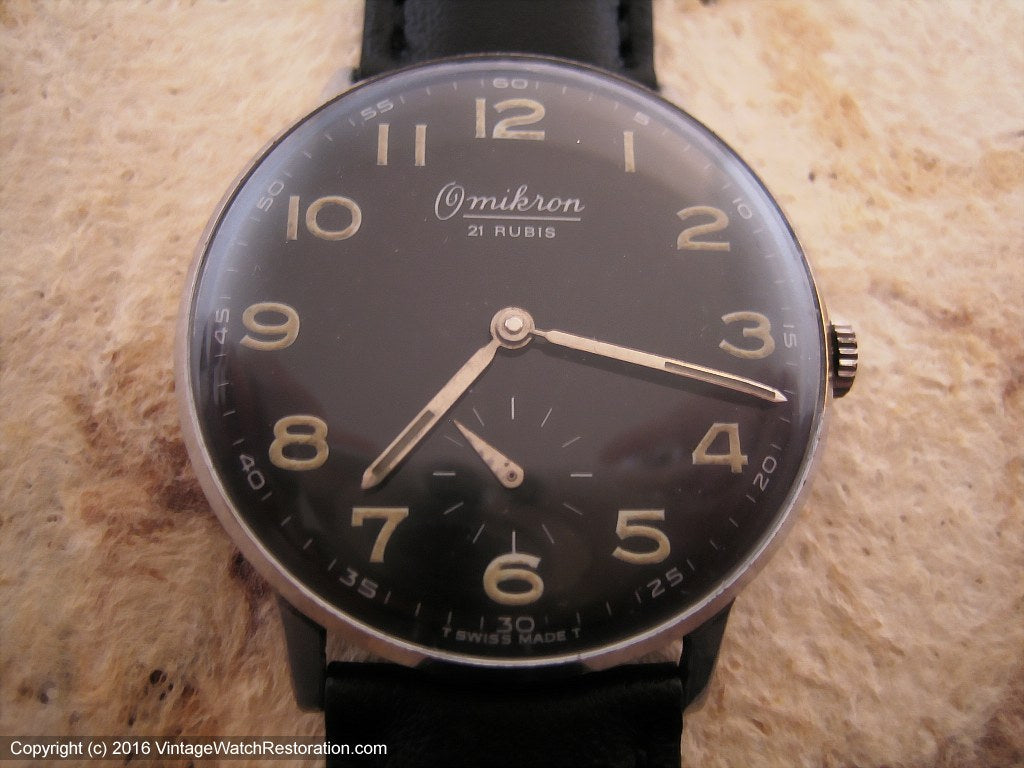 Large Black Dial Omikron with Wehrmachtswerk Military Movement, Manual, Large 35mm