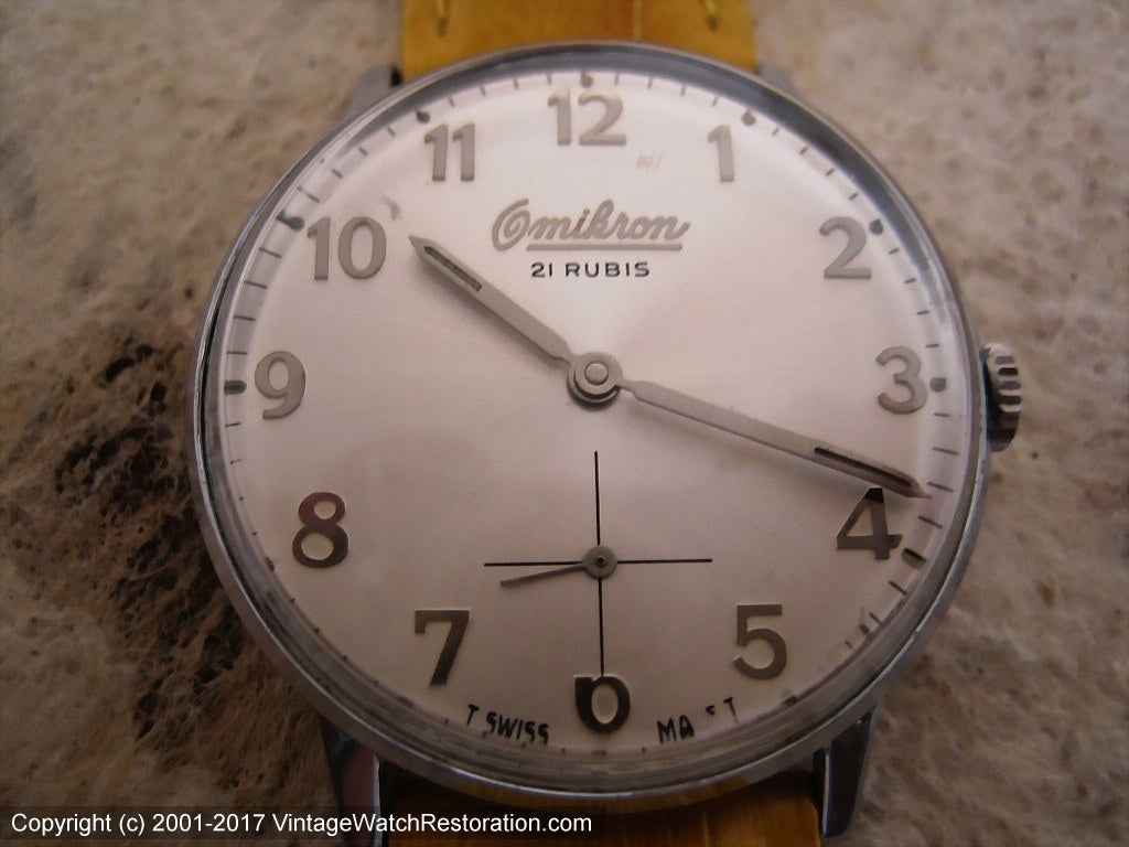 Magnificent Silver Dial 21 Rubis Omikron Wehrmachtswerk (army movement), Manual, Large 35mm
