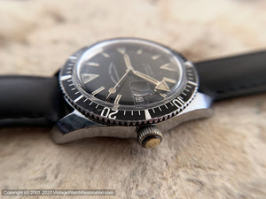 Orvin Black Dial Divers with Date, Manual, Large 35mm