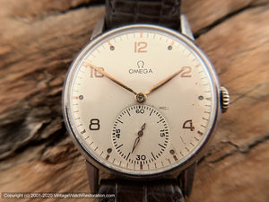Omega Pearl White Dial Rose-Gold Numbers, Huge Case Cal 30T2 c.1944, Manual, Lg 35mm