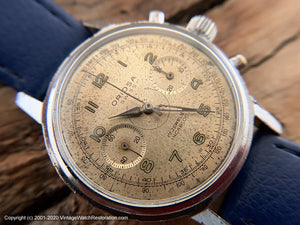 Oriosa Military Chronograph with Stunning Patina Dial, Manual, Huge 37.5mm