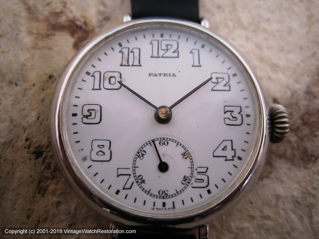 Patria Military Porcelain Dial, Manual, Large 34mm