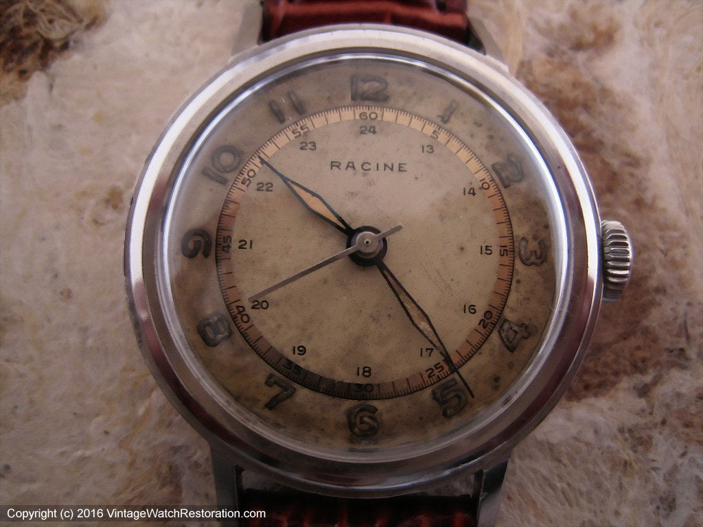 Racine (Gallet) Two-Tone WWII Era Original Dial, Manual, 33.5mm