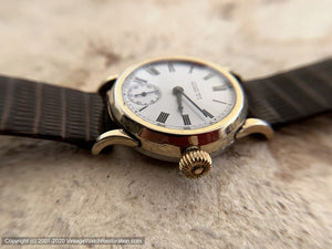 Omega (Regina), Early and All Original with Porcelain Roman Dial, Manual, 30mm