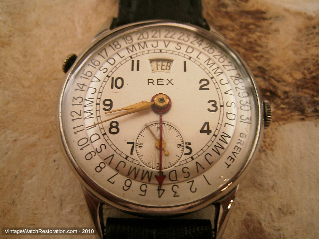 Rex Impressive Day/Date Pie Pan Shape Silver Dial, Manual, Large 34mm