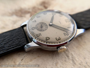 Rialto Military-Style with Unusual Gray-Tan Dial, Manual, 33mm