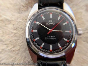 Roamer Black, Red and White Dial, Manual, Large 35mm