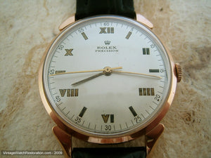 18K Rose Gold Rolex Precision Roman Numerals Dial, Manual, Very Large 37mm