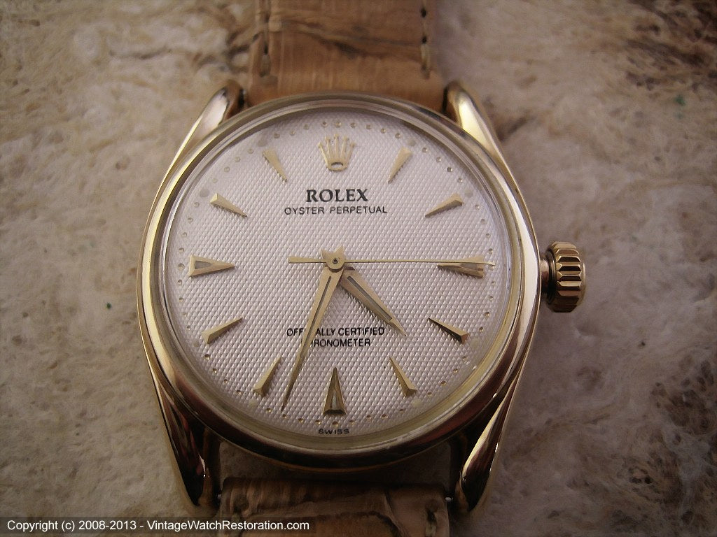 Rare Low Production Heavy 14K Gold Rolex Oyster Perpetual - Model 6090, Manual, 33mm