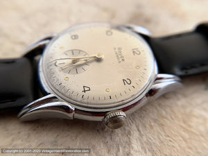 Royce in Original Champagne-Silver Dial with Deco Case, Manual, 32.5mm