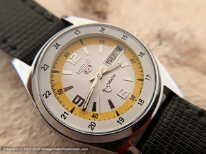 Seiko 5 Day-Date with White and Deep Yellow Dial, Automatic, Very Large 36.5mm