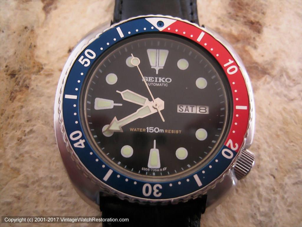 Huge Seiko 'Pepsico' Divers in Black Dial with Day-Date, Automatic, Huge 44mm