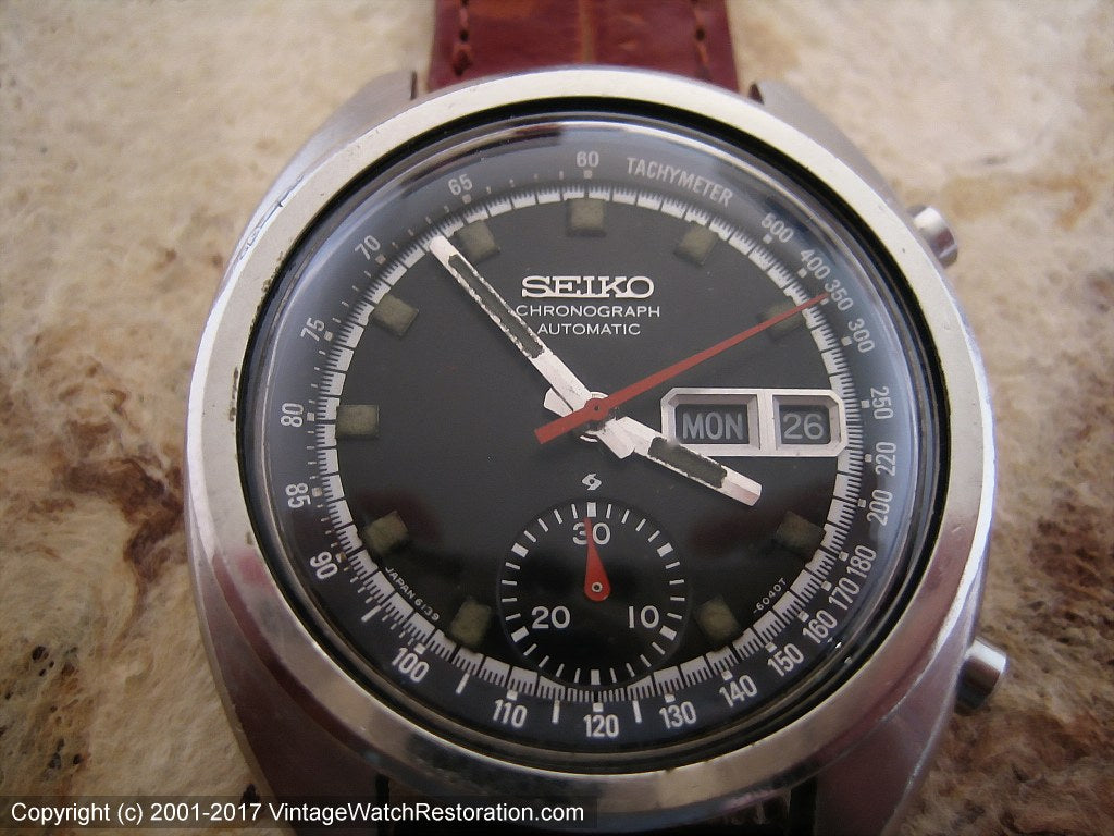 Seiko Chronograph Black Dial Day-Date, Automatic, Very Large 40mm