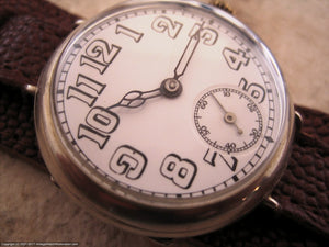 Early 1900's Swiss with Super Porcelain Dial, Manual, Large 35mm