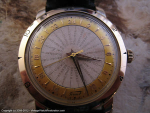 Rare Tissot 'World Timer' Navigator with Original Two-Tone Dial, Automatic, Very Large 36mm