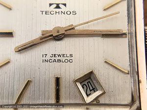 Technos Large Rose-Gold Plated Square Case and Tuxedo Dial with Date at 5 o'clock, Manual, 29x29mm