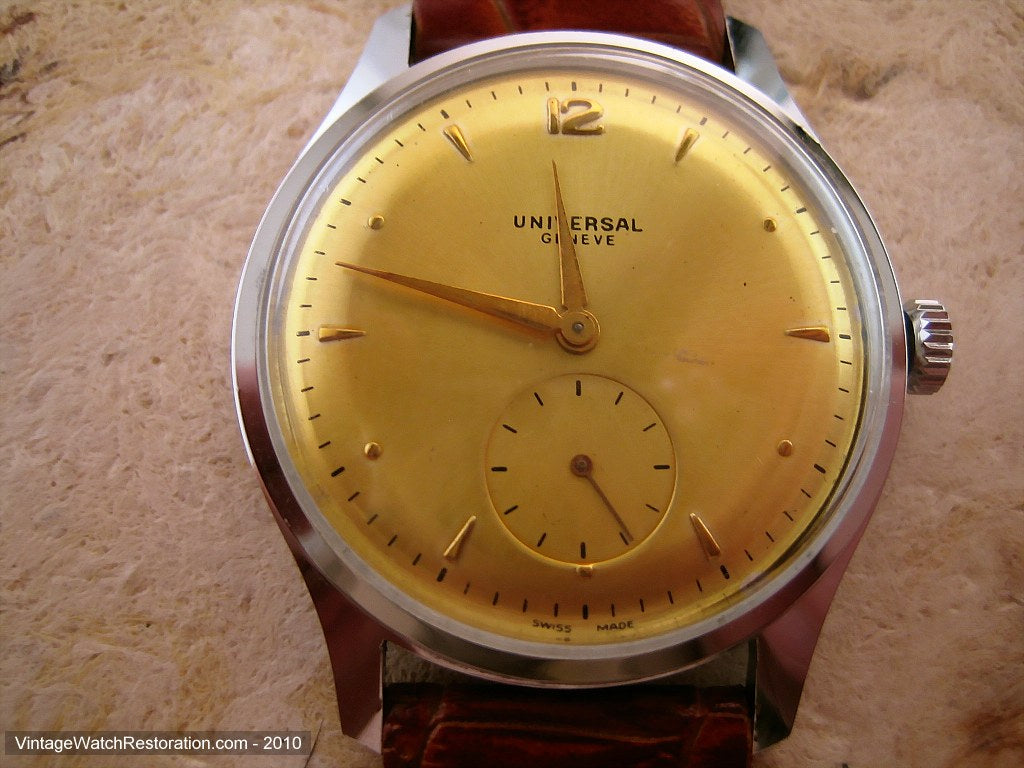 Very Large Yellow Gold Dial Universal, Manual, Very Large 37mm