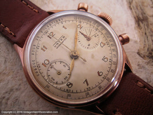 Mellow Dial Unver Doctor's Pulsation Scale Chronograph with Art Deco Numbers, Manual, Very Large 35.5mm