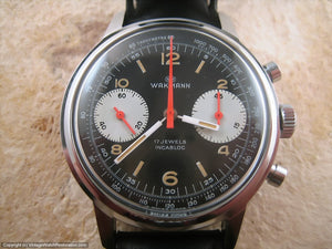 Wakmann Gem of Gem Black Dial Chronograph, Manual, Huge 37mm
