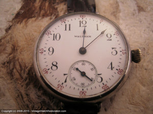 WWI Era Waltham Porcelain Dial in Sterling Silver Clam Case, Manual, 32.5mm