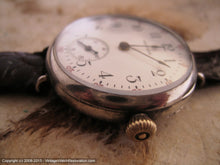 Load image into Gallery viewer, WWI Era Waltham Porcelain Dial in Sterling Silver Clam Case, Manual, 32.5mm