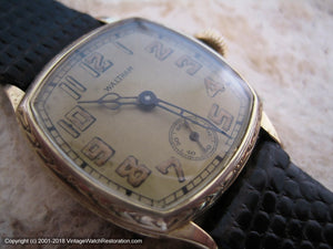 Decorative Square Tonneau Case Waltham with Golden Dial, Manual, 27.5x27.5mm