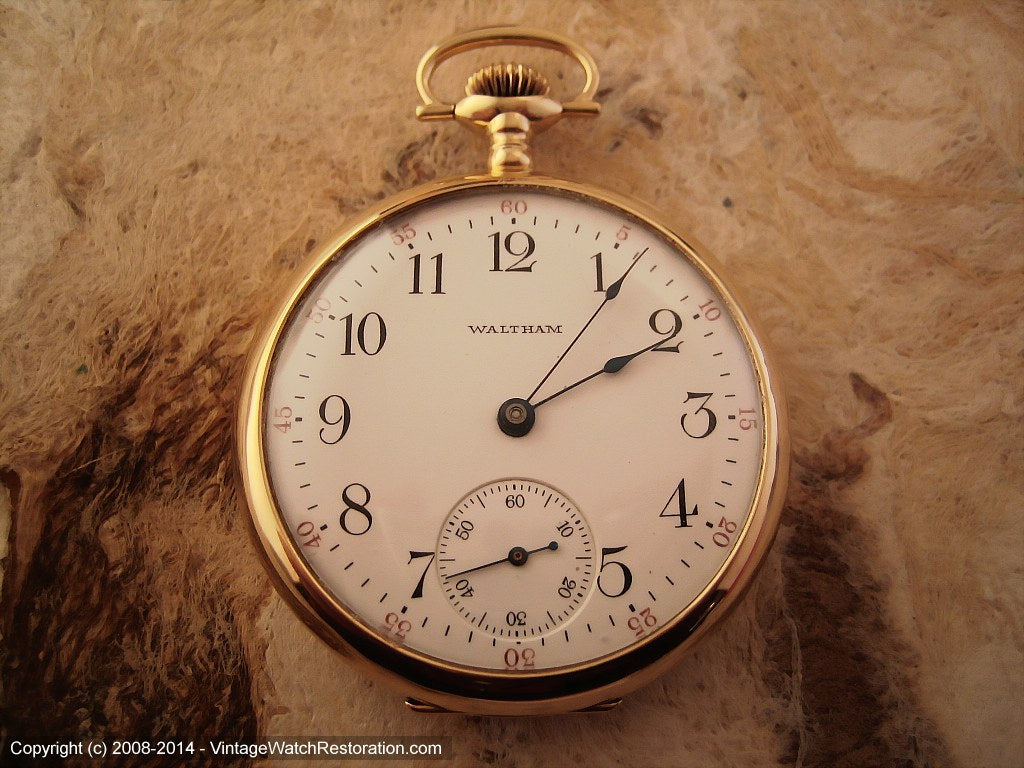 Early 14K Gold American Waltham Pocketwatch Model 1908, Manual, Large 48mm