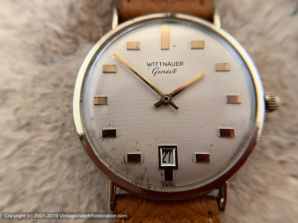 Wittnauer Geneve Large Case with Date at Bottom, Manual, Large 35mm