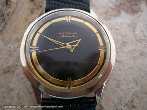Stunner Wittnauer Deco Style Gold and Black Dial, Automatic, Large 34mm