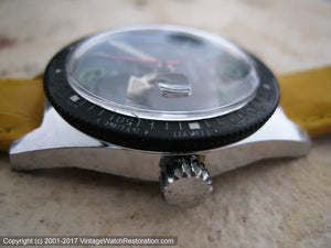 French Black Dial Wolbrook Divers World Time with Date, Manual, Very Large 36mm