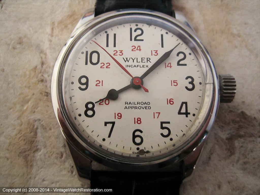 Swiss Military Wyler Railroad Approved 24-Hour Dial, Automatic, Large 34mm