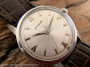 Wittnauer Silver Sunburst Dial, Manual, Large 34.5mm