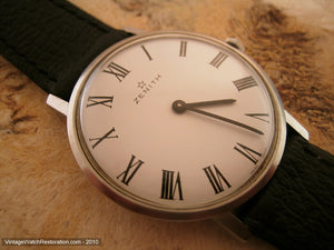Thin Zenith with Elegant White Dial and Roman Numerals, Manual, 34mm