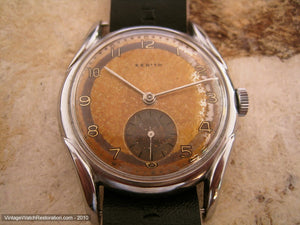 Rusty-Brown Two Tone Zenith with Deco Lugs, Manual, Large 34mm