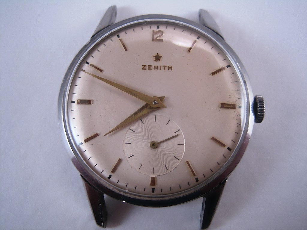 Light Cream Large Format Zenith Stainless Steel, Manual, Very Large 36.5mm