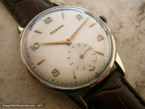 Zenith Pearl Dial with Gold Numbers, Manual, Very Large 36.5mm